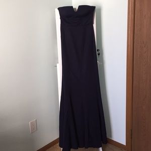 Blue strapless formal dress